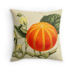 Pumpkin vintage art on old paper texture from 1918 throw pillow. Fall / autumn americana decor by Meteora Digital Art.