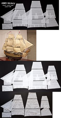 Heller HMS Victory - set of 18 sails for model sewed on CNC machine Model Ship Building, Boat Building, Anchor Drawings, Ship In Bottle, Hms Victory, Ship Of The Line, Wooden Ship, Tall Ships, Model Ships