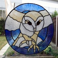 Owl Stained Glass Pattern | barn owl static window cling barn owl staatic window cling this design ...