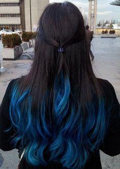 Blue Black Hair Tips And Styles Dark Blue hair Dye Styles Black Hair Tips, Hair Color For Black Hair, Cool Hair Color, Hair With Blue Tips, Brown Hair Purple Tips, Brown Hair With Blue, Dark Blue Hair Dye, Ombre Hair Color, Blue Dip Dye Hair