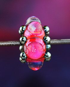 Fuchsia Dot Big Hole Bead Handmade Lampworked Glass by ninaeagle