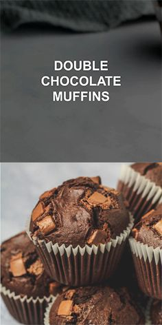 Double Chocolate Muffins – Incredibly moist and delicious bakery-style chocolate muffins that are infused with vanilla, and stuffed full of chocolate chips. The BEST chocolate chocolate chip muffins! Chocolate Muffins Moist, Double Chocolate Chip Muffins, Chocolate Chip Recipes, Chocolate Chocolate, Homemade Chocolate Cupcakes, Easy Cookie Recipes, Cupcake Recipes, Sweet Recipes, Dessert Recipes