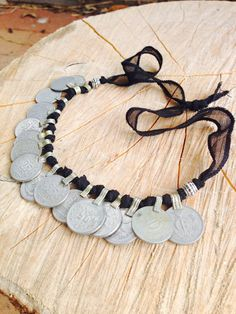 Tribal Kuchi Coin Staement Necklace, Anklet, Bracelet wih Black Silk Ribbon