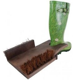 Wooden Boot Jack With Cleaning Brushes. Country Rustic Finish. Garden. Farm. New