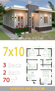 House design Plans with 3 Bedrooms terrace roof - House Plans 3d House Plans, Simple House Plans, House Layout Plans, Simple House Design, Modern House Plans, House Layouts, House Plans With Photos, Simple Designs, Bungalow Haus Design