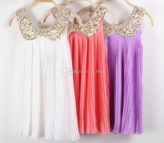 2015 Summer Girls Dresses Lace Dresses for Baby Girl Princess Dresses Chiffon Dresses Pleated Vest Dresses Copper Round Collar Beach Dresses from U_luck,$8.38 | DHgate.com#dhgatepin
