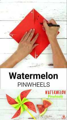 FUN AND FRUITY WATERMELON PINWHEELS - This colourful watermelon pinwheel craft is so quick and easy to make. This watermelon craft is great for kids to play with and make gorgeous Summer party decorations too. Summer Crafts For Toddlers, Creative Activities For Kids, Toddler Crafts, Creative Crafts, Art For Kids, Kid Activities, Kids Fun, Easy Arts And Crafts, Paper Crafts For Kids