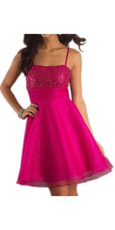 Short Fuchsia Show Choir Dress Spaghetti Strap A Line Skirt Glitter