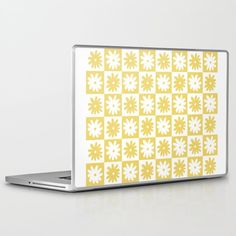 Yellow And White Checkered Flower Pattern Laptop & Ipad Skin by Thespacehouse - 13