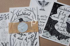 Blackbird - Letterpress Postcards - set of 4. $10.00, via Etsy.