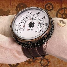 Working wrist thermometer  Decorated with springs and brown leather straps  Measures 2 inches across  Highly detailed        Steampunk is a sub-genre of science fiction, fantasy, alternate history, and speculative fiction that came into prominence during the 1980s and early 1990s.Steampunk involves a setting where steam power is still widely used usually Victorian era Britain that incorporates elements of either science fiction or fantasy.