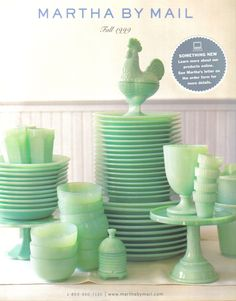 Martha's Massed  collection of jadeite ....so so beautiful!