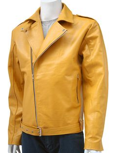 Men's Yellow Biker Jacket Men - Crafted in super soft real cowhide leather. The fine surface of pure leather really shows through this jacket. The elegant yellow color and the biker style design of th