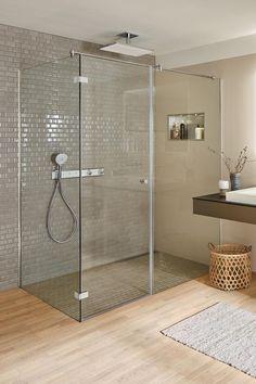 Rain shower with white glass spray disc from hansgrohe.  bathroom   interiordesign  showerdesign 0c1d3721d0f68