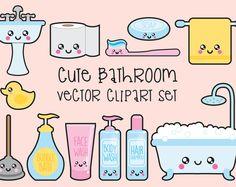 Premium Vector imágenes prediseñadas - imágenes prediseñadas baño de Kawaii - Kawaii baño Clip art Set - vectores de calidad alta - Descargar Instant - Kawaii Clipart