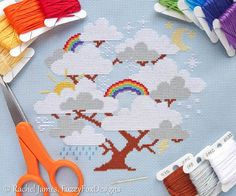 Whimsical Cloud Tree with Rainbows Easy by FuzzyFoxDesigns on Etsy