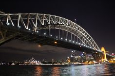 Sydney Harbour Bridge at night slow shutter speed no flash , still don't know how i got a clear picture from a boat