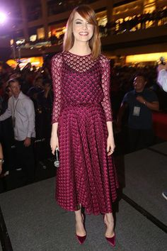 Emma Stone in Dior dress.The Amazing Spider-Man 2 fan event, Singapore – March 27 2014