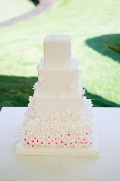 Square Cascading Hydrangea Wedding Cake