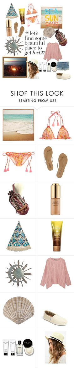 """Lost In The Sand"" by awbreepaigeroo ❤ liked on Polyvore featuring Victoria's Secret, Tkees, Estée Lauder, Billabong, Dolce&Gabbana, Alterna, MANGO, TOMS, Bobbi Brown Cosmetics and Lulu*s"
