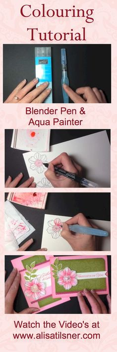 Video Tutorials showing how to colour with Blender Pens and Aqua Painters on Watercolour Paper. www.alisatilsner.com