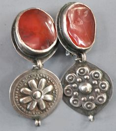 Turkoman carnelian drops as tops and silver decorations used as clothing, 19th c componants. (designed by Linda Pastorino)