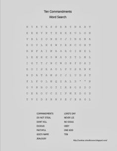 10 Commandments Word Search - Sunday School Activities - Click to get lots of FREE stuff for Sunday school.