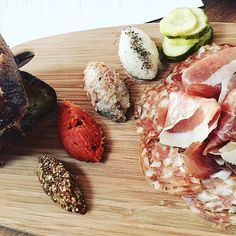 #FarmshopLA Start dinner with the Cured Meats From Our Friends - prosciutto, salametto, pork rilettes, calabrese, whipped lardo and 'nduja with bread and butter pickles. / Photo credit: Dino Cruz