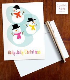 Christmas Printable Card with Snowmen // by CynthiaKatzDesign #christmascard #diycard