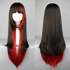 EllenaWomensLadies 68cm RedBlack Color Long Straight CosplayCostumeAnimePartyBangs Full Sexy Wig 68cmstraightRedBlack -- Check out this great product.Note:It is affiliate link to Amazon.