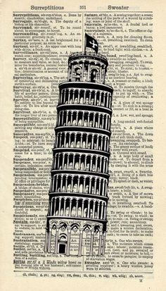 "LEANING TOWER OF PISA ART PRINT - ITALY ART PRINT - VINTAGE ART PRINT - TRAVEL Art Print - Illustration - Vintage Dictionary Art Print - Wall Hanging - Home Décor - Book Print - WALL ART 325B. This striking illustration is printed on a page from a vintage dictionary. The page has a lovely old age colour to it which gives it a wonderful vintage feel. Size of print/page: Approx - 4"" x 7"" inches This art print would look great framed and would be suitable for any room in the house. There are…"