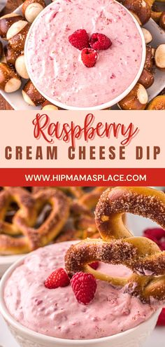 This delicious and easy raspberry cream cheese dip is the perfect dip to pair with fresh fruits, bagels and even pretzels! Get the recipe on HipMamasPlace.com! #raspberrycreamcheese #raspberrycreamcheesediprecipe #dips #diprecipes #footballseason #snacks #snacking #easyrecipes #foodblog #foodblogger #foodblogeats #hipmamasplace Dessert Dips, Great Desserts, Delicious Desserts, Dessert Recipes, Yummy Food, Dip Recipes, Cooking Recipes, Cream Cheese Dips, Wafer Cookies