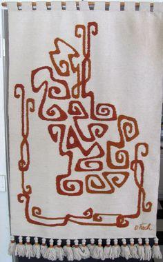 Mid Century Modern Olga Fisch Wool Tapestry Wall Hanging Rug