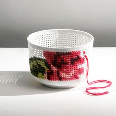 Industreal. bowl, strainer, cross-stitch project. for a crafter.