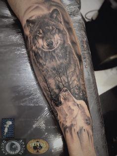 Tattoo wolf by Cesar Hencklein