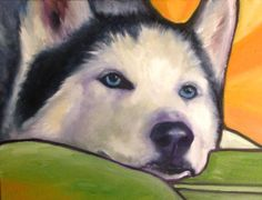 Atticus the Husky, #Oil #Painting #dog #husky