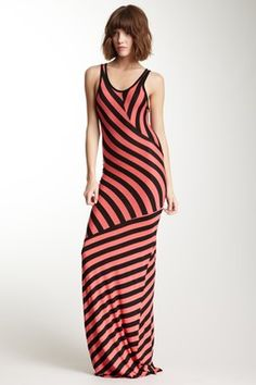 Go Couture Variegated Stripes Maxi Dress