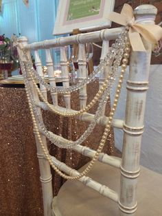Gorgeous pearl and crystal chair backs to hire! Available for nationwide delivery in the UK. Www.puddingbridge.co.uk