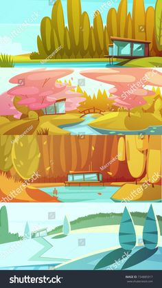 Countryside landscapes seasons 4 horizontal banners set with winter summer autumn and spring retro isolated  illustration