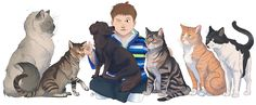 A Boy and Dog with Cats by El Gato Iberico via ArtCorgi -- Commission | Commission art | pet portraits | pets | pet art | paintings of pets | cute dog drawings | cute kitten drawings | dogs | cats | corgis | corgi | mice | hamsters | art | artcorgi |