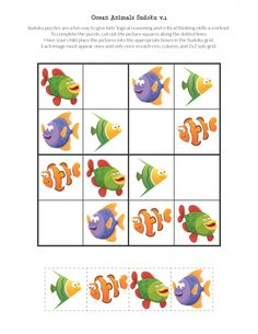 Free printable Ocean Animals Sudoku Puzzles for children. Great for an ocean unit or some summertime learning. Farm Animals Preschool, Body Preschool, Sudoku Puzzles, Animal Puzzle, Color By Numbers, Middle School Art, High School, Critical Thinking Skills, Kindergarten Art
