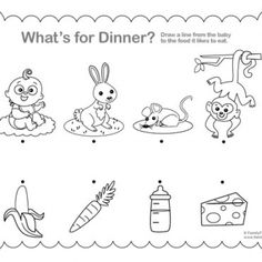 printable toddler activity whats for dinner - Printable Children Activities
