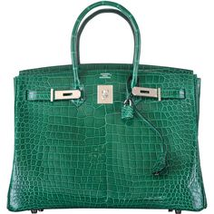 Pre-owned HERMES BIRKIN BAG 35cm EMERALD GREEN CROCODILE (VERT... ($110,000) ❤ liked on Polyvore