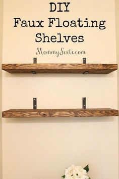 I love how much character these shelves bring to my small bathroom. This is an easy, inexpensive weekend DIY project. EASY, and INEXPENSIVE, DIY Faux Floating Shelves! Finally you can have the look of floating shelves with so much less work! Decoration Palette, Floating Shelves Diy, Glass Shelves, Floating Cabinets, Building Floating Shelves, Floating Shelf Hardware, Floating Shelf Brackets, Floating Bookshelves, Floating House