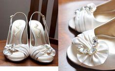 White Satin Wedding Shoes with Beading