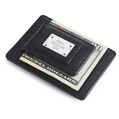 Personalized Black Leather Money Clip with Card Holder , Add Your Message