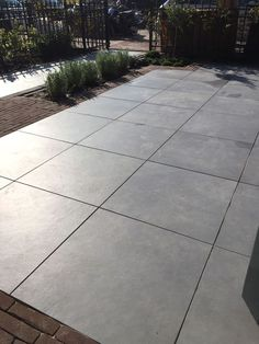 16 Poured Concrete Backyard Patio Notice the rectangles bordering the sq edges Looks ok in Poured Concrete Patio, Concrete Backyard, Concrete Patio Designs, Cement Patio, Backyard Patio Designs, Diy Patio, Patio Ideas, Stamped Concrete, Large Concrete Pavers