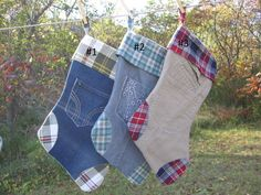 Christmas Stockings Denim Corduroy Khaki by SewManyStitchesVT