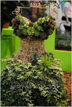 """Here are five fabulous examples of vertical succulent gardens created on life size wire dress forms. These can be used indoors or outdoors with real or artificial succulents. All of images are from Pinterest, this one was designed by Moreland Creations Fairy Garden. These """"succulent dresses""""are ideal for someone who likes fashion and gardening. This …"""