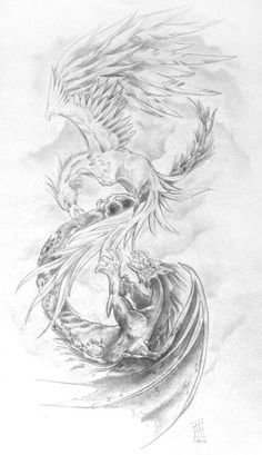 'Phoenix vs Dragon' by CakeinyourFace on DeviantArt - Tattoo Thinks Tattoo Dragon And Phoenix, Phoenix Back Tattoo, Dragon Tattoo For Women, Phoenix Art, Dragon Tattoo Designs, Dragon Tattoos, Bear Tattoos, Body Art Tattoos, Elephant Tattoos